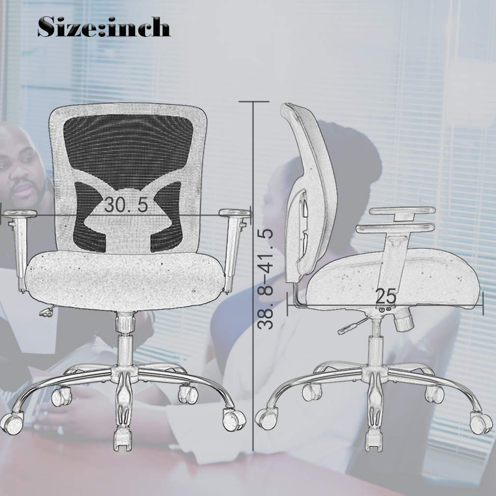 Big and Tall Office Chair Mesh Chair Computer Ergonomic Chair 400lbs Wide Seat Executive Desk Task Rolling Swivel Chair with Lumbar Support Adjustable Arms by BestMassage (Image #7)