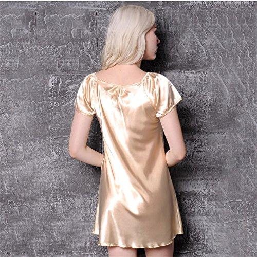 Biancheria Colore Sexy Traspirante 2XL da e in Notte Rosso Pigiama Indumenti da Raso Notte da Champagne Nunubee Donna xH7XRaR