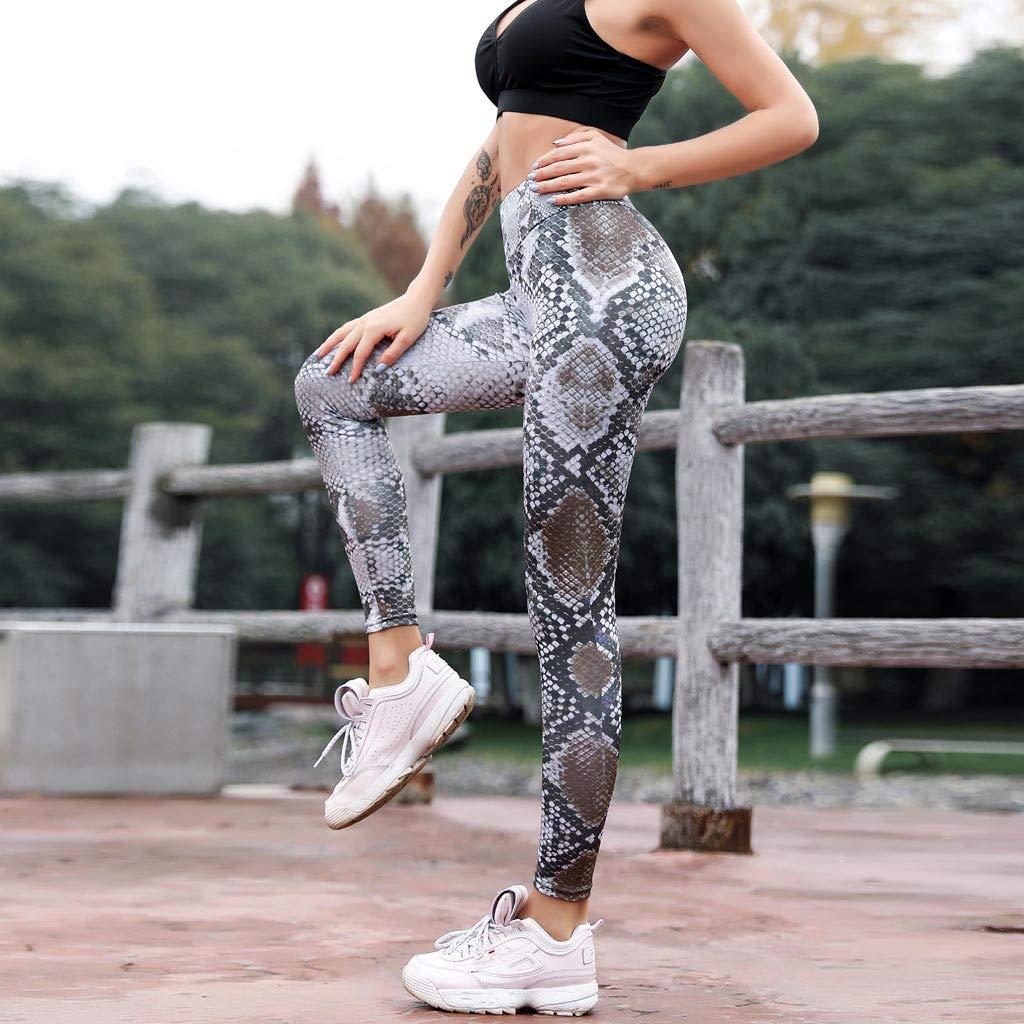 Makeupstory Womens Capri Leggings, Workout Leggings Women,Serpentine High Waist Leggings Serpentine Women Yoga Pants Mesh Leather Leggins by Makeupstory (Image #4)