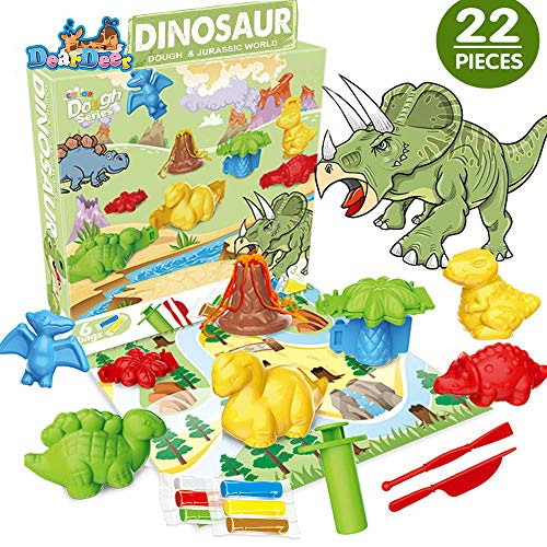 Deardeer 22 Pcs Dinosaur Play Dough Set Creativity DIY Pretend Toy Kit with Dough and Molds for Kids Boys