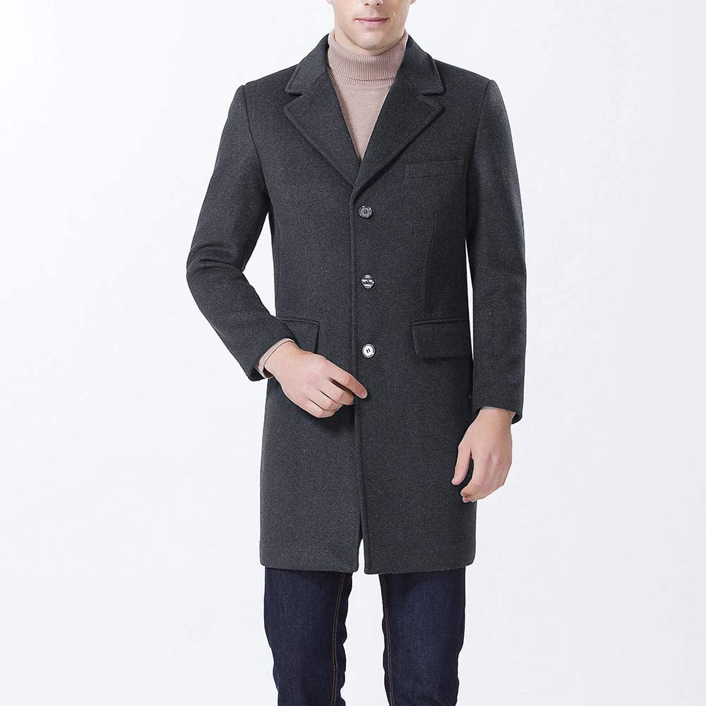 Lannister Long Thick Men's Coat Jacket Festive Men Down Clothing Casual Wool Trench Coat Fashion Business Long Thicken Slim Coat Jacket Dunkelgrau