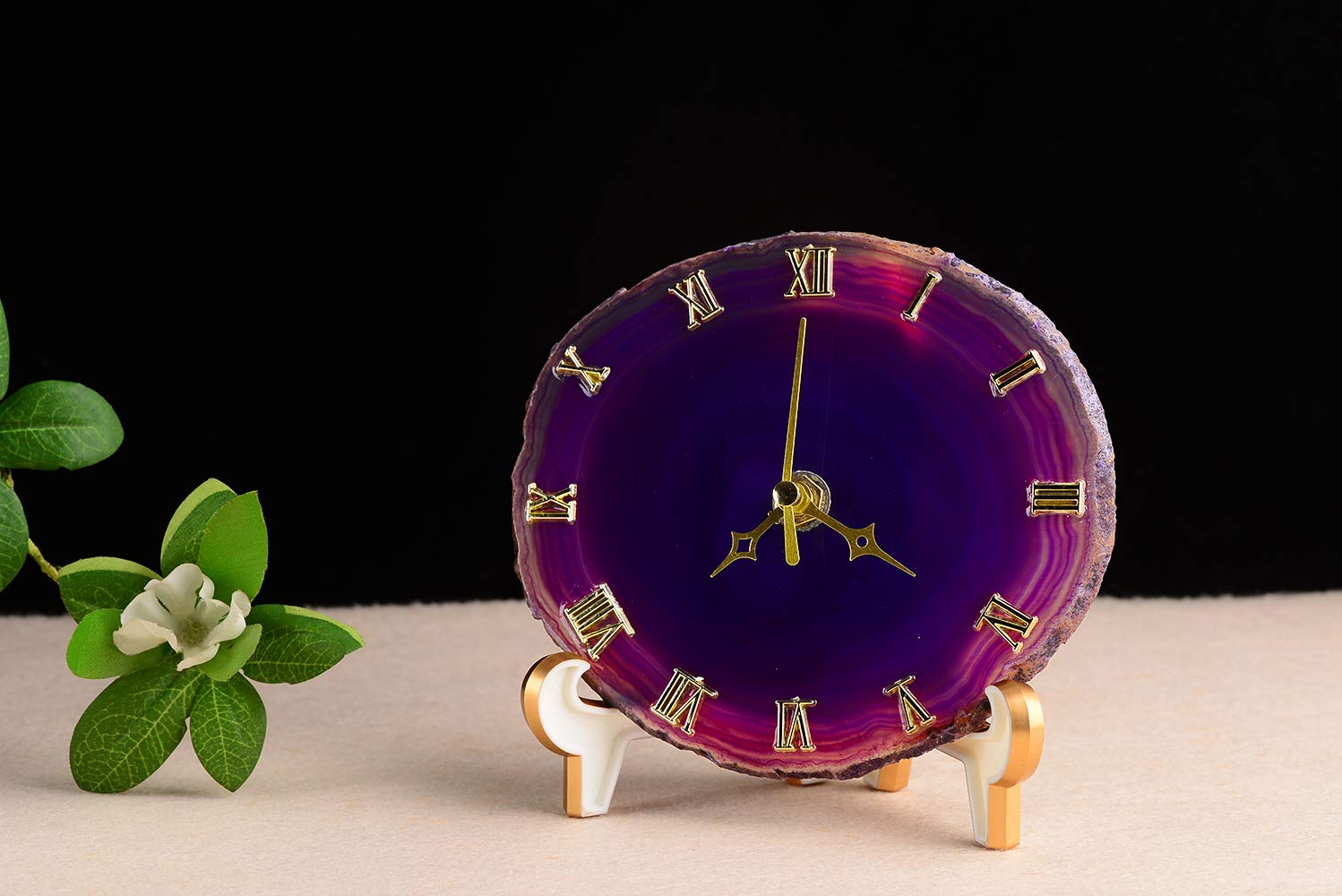 AMOYSTONE 5 Silent Desk Clocks Crystal Small Quartz Analog Clock for Home Non Ticking Battery Operated Dyed Purple