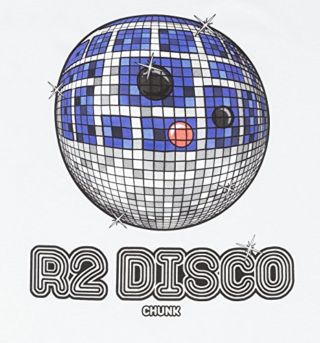 05ea94dda Chunk Mens White R2 D2 Disco Star Wars T Shirt from: Amazon.co.uk: Clothing