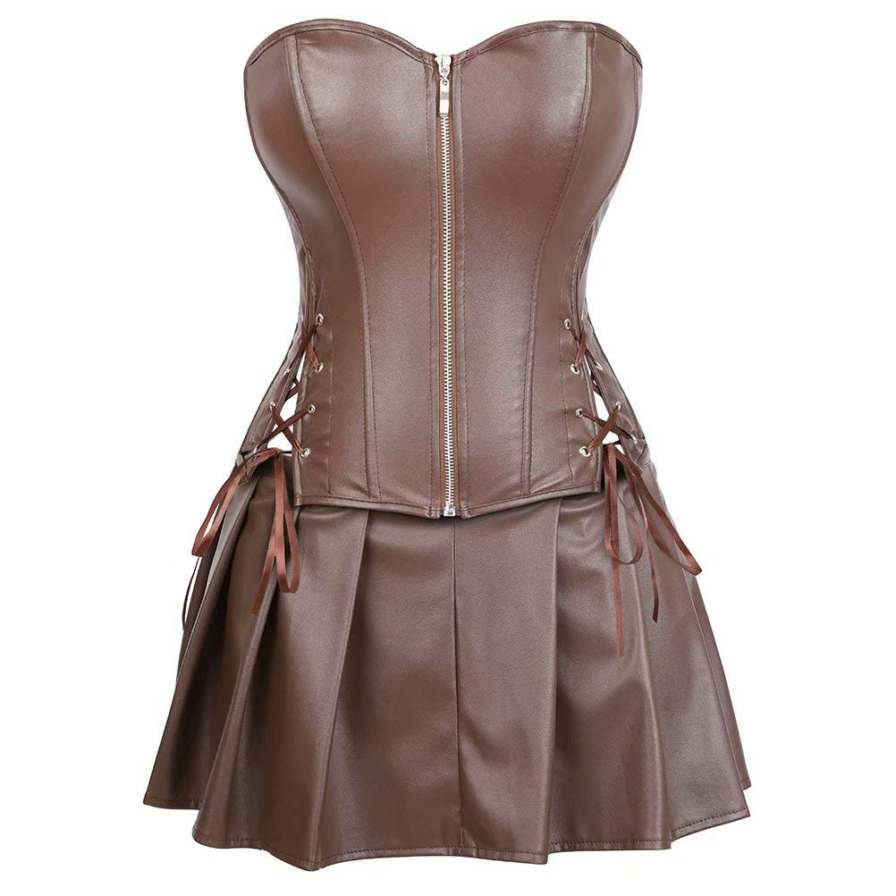 Steampunk Tops | Blouses, Shirts Leather Corsets for Women Bustier Lingerie Top Punk Rock Waist Cincher Basque Halloween Costume $22.99 AT vintagedancer.com