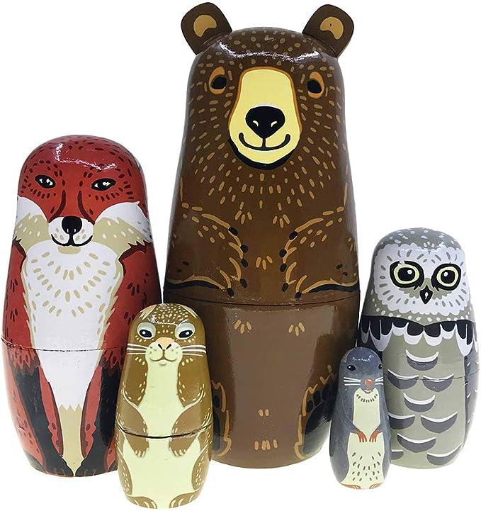 6 pezzi Bambola di nidificazione russa Hinleise in legno non verniciato per lavori fai da te