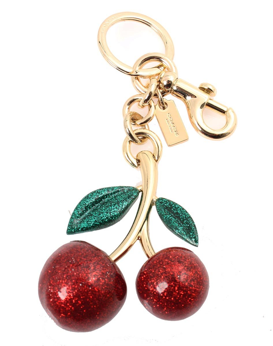 Coach Glitter Cherry Bag Charm Keychain, F58516 (Red)