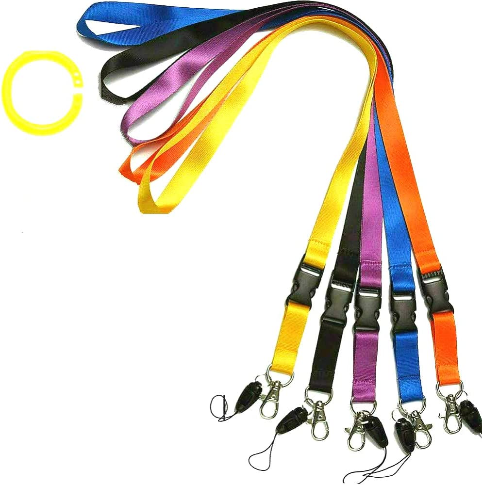 Office Lanyard, Uactor 5 Pack Quick Release Polyester Lanyard Neck Strap with Safety Detachable Buckle & Oval Clasp Hook Mixed Colors for Keys, Whistles, Cell Phones, ID Name Tag Badge Holder