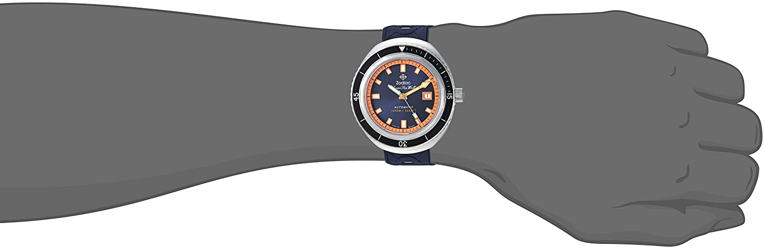 Zodiac Men s Super Sea Wolf 68 Stainless Steel Swiss-Automatic Watch with Rubber Strap, Blue, 23 Model ZO9504