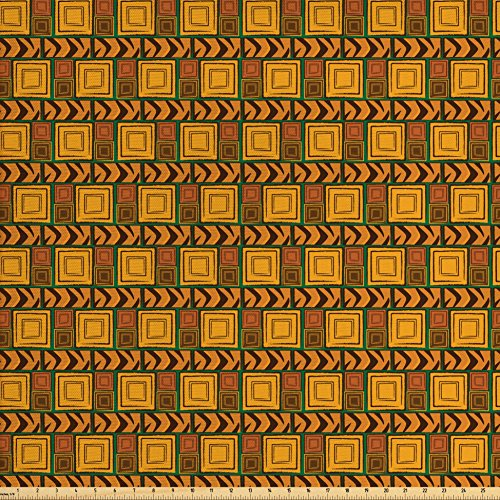 - Ambesonne Zambia Fabric by The Yard, Kenya Ethnic Motif with Geometrical Aztec Native American Effects Print, Decorative Fabric for Upholstery and Home Accents, Yellow Brown Green