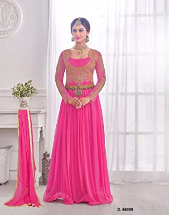 98e74d1ee202 Wedding Engagement Embroidered Bridal Gown Pink color Korean Lycra  DreamAngel Enterprise: Amazon.in: Clothing & Accessories