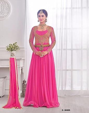 Wedding Engagement Embroidered Bridal Gown Pink color Korean Lycra ...