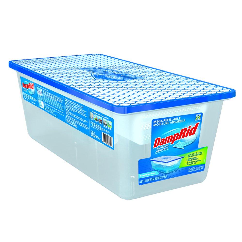 DampRid FG280 Refillable Moisture Absorber, 5 lb, Fragrance Free Damp Rid
