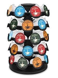 Everie Coffee Pod Carousel Holder Compatible with 35 or 36 or 40 Keurig K Cup Coffee Pods, 360 Degree Rotary Storage Organizer for K-Cup Pods