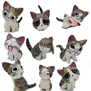 Kimkoala Chi Cat Toys, 9 Pcs Japanese Cute Chi's Sweet Home Cats Dolls Animal Figures Collection Toy Set For Miniature Garden Decoration(Gray)