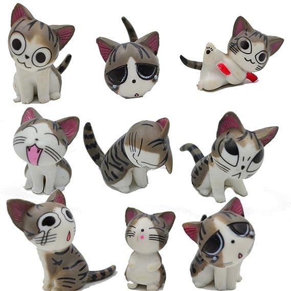 Chi gato juguetes, japonés, diseño de figuras de animales colección de muñecas de Chi Sweet Home gatos 9 piezas Juguete Juego para la decoración de jardín ...