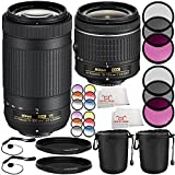 Nikon AF-P DX NIKKOR 70-300mm f/4.5-6.3G ED VR Lens + Nikon AF-P DX NIKKOR 18-55mm f/3.5-5.6G Lens 14PC Accessory Bundle – Includes 2x 3 Piece Filter Kits (UV + CPL + FLD) + MORE