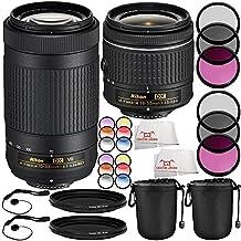 Nikon AF-P DX NIKKOR 70-300mm f/4.5-6.3G ED VR Lens + Nikon AF-P DX NIKKOR 18-55mm f/3.5-5.6G Lens 14PC Accessory Bundle – Includes 2x 3 Piece Filter Kits (UV + CPL + FLD) + MORE