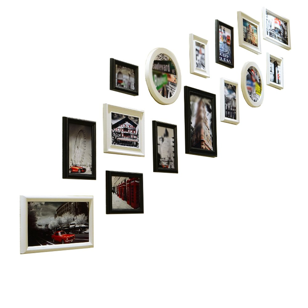 European-style staircase photo wall / corridor compound wood photo frame wall combination / frame photo wall 15 box 207 120cm ( Color : Black and white combination )