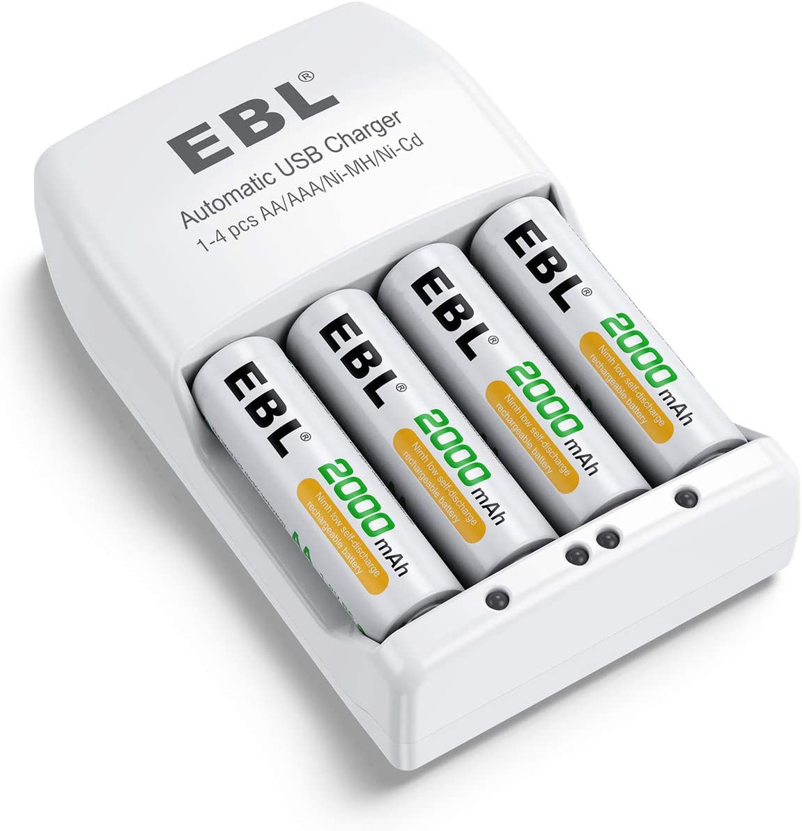 and Rechargeable Battery Charger for Ni-MH//Ni-CD AA AAA Rechargeable Batteries 4 Pack EBL Rechargeable AA Batteries 2000mAh