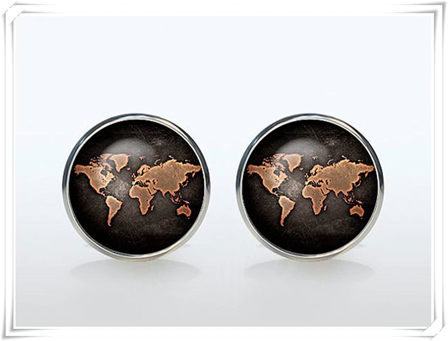 World Map Cuff links men and women Accessories CX28
