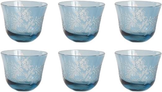 """Blue Glass Votive Holder Pillar Candle Tea Light Flower Shape 2.5/"""" High Set//6"""
