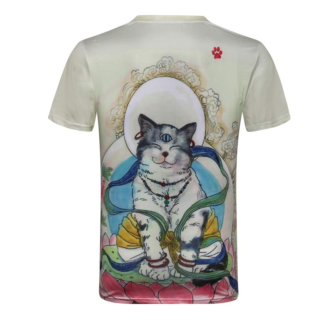 Buddhism Cat Print Short Sleeve Shirt Muscle Fitness Tank Top Holiday Sweatshirt Mens Tops in Style T Shirts for Men