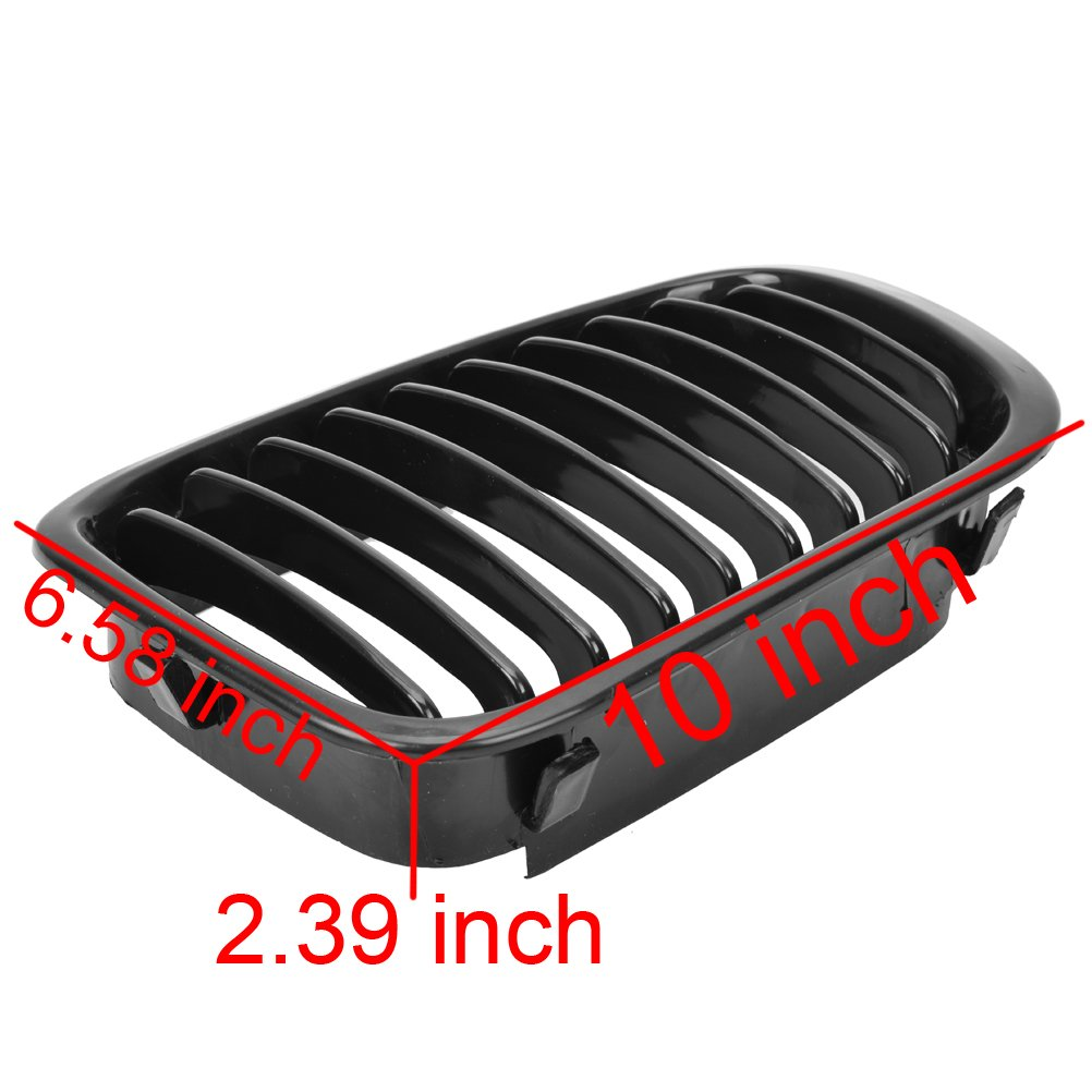 2X Chrome Front Hood Kidney Grille Grill Compatible with 1998-2001 E46 320i 323i 325i 328i 330i 4-Door Sedan