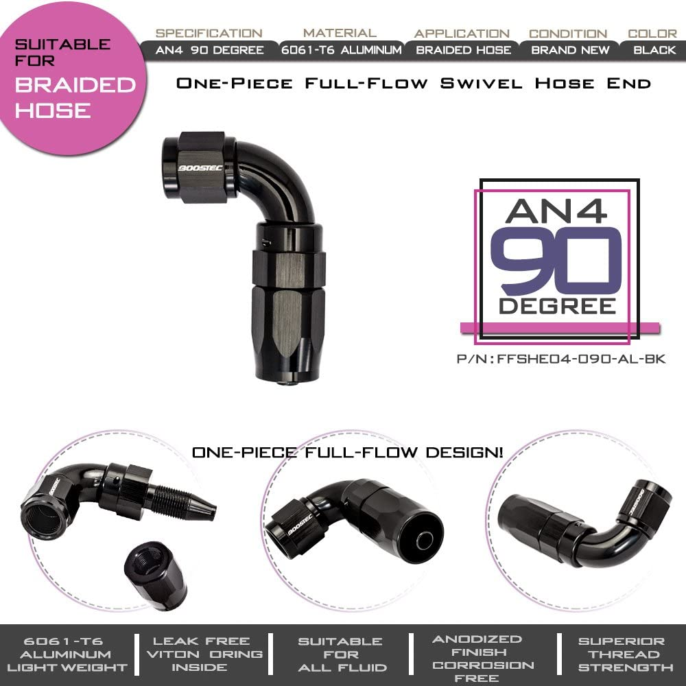 Flow Swivel Hose End Fitting AN10 90 degree BOOSTEC One-Piece Full