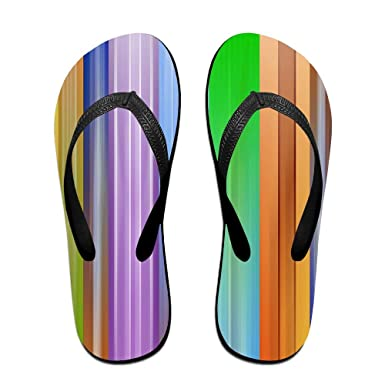 6cf9d7e9c8bb4 Amazon.com  Couple Slipper Rainbow Color Line Print Flip Flops Chic Sandals  Rubber Non-Slip House Thong Slippers  Clothing
