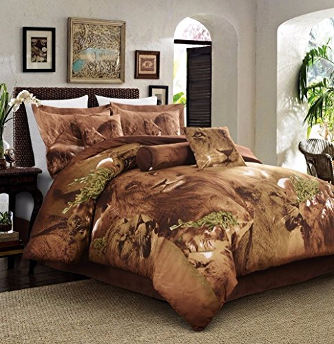 5-Piece Soft Microfiber Printed Safari African Lion Comforter Set, Twin Size