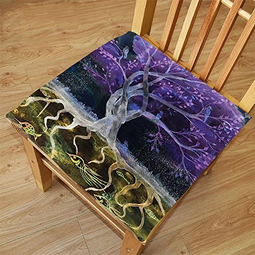 Nalahome Set of 2 Waterproof Cozy Seat Protector Cushion Tree Of Life Decor Psychedelic Magical Mysterious Tree At Night With Birds And Fishes And Birds Life Home Multi Printing Size - Night At Sunglasses Download