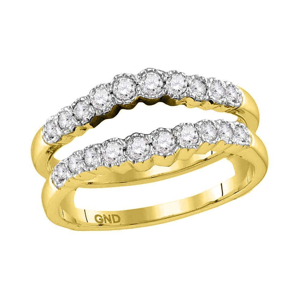 14kt Yellow Gold Womens Round Diamond Wrap Ring Guard Enhancer Wedding Band 1/2 Cttw (I1-I2 clarity; H-I color)