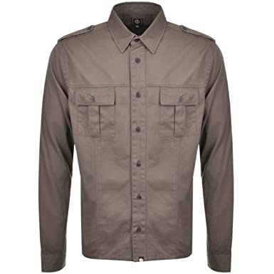 b64755dcb37eb2 Pretty Green Men's Marlinford Over Shirt LS Khaki: Amazon.co.uk ...