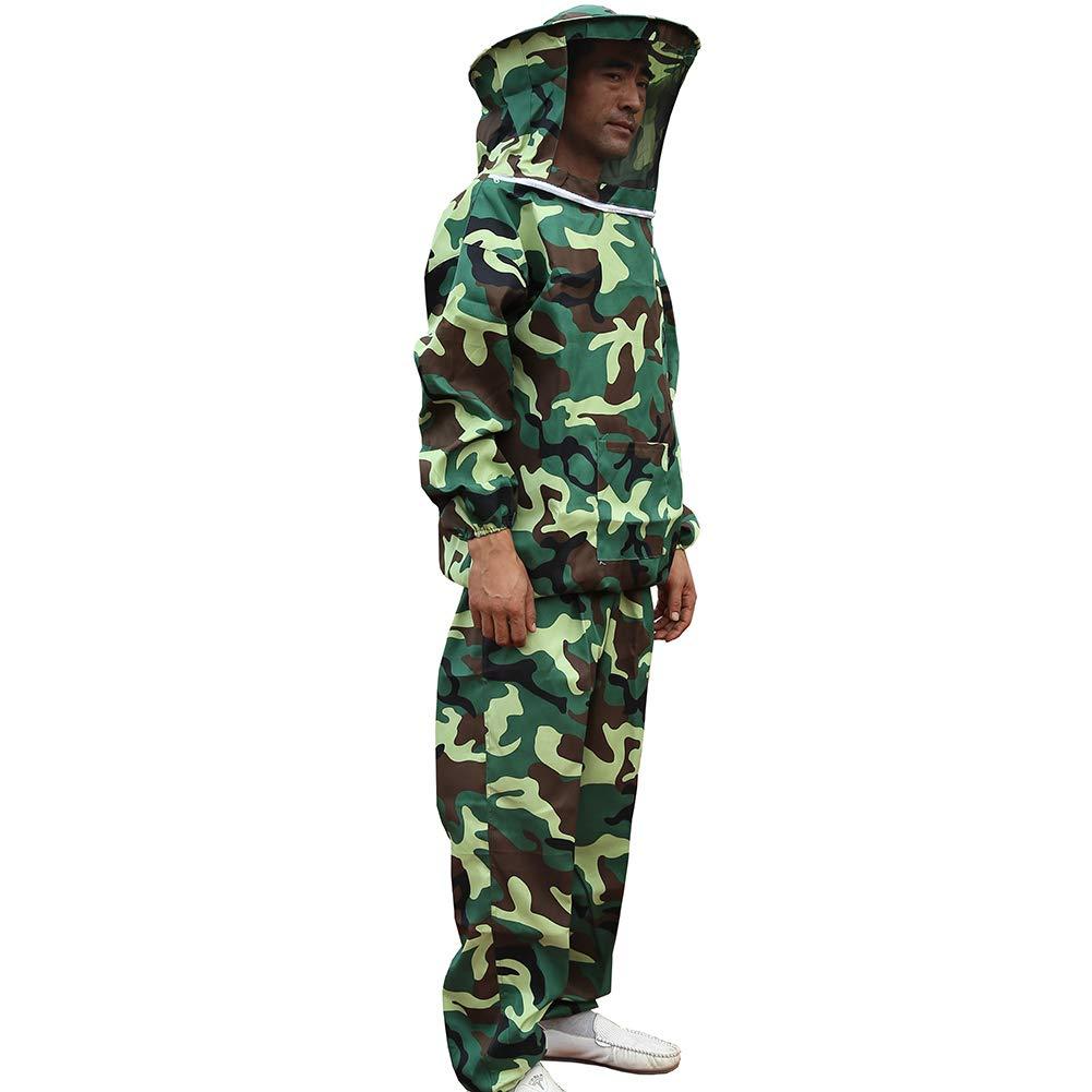 Camouflage Beekeeping Jacket Veil Bee Keeping Suit Hat Smock Protect Equipmentx1