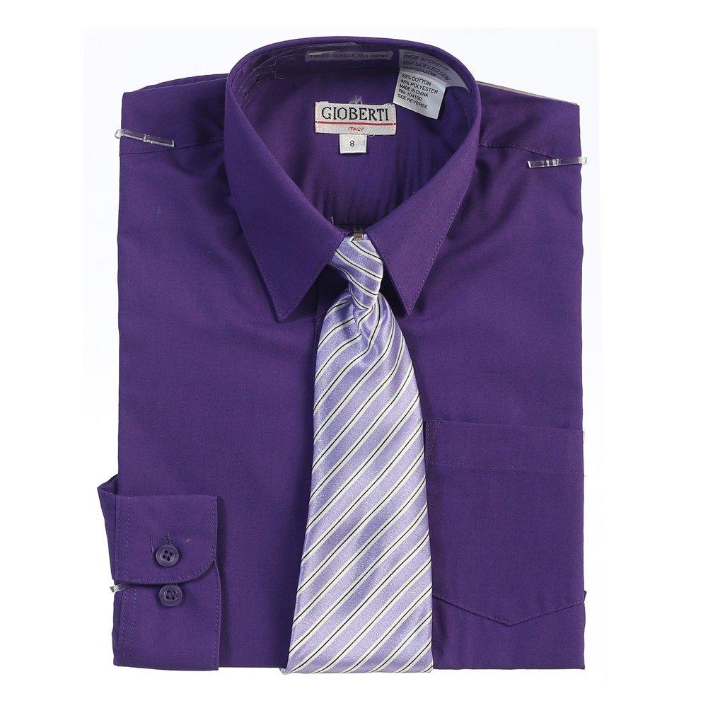 Amazon Big Boys Dark Purple Button Up Dress Shirt Striped Tie