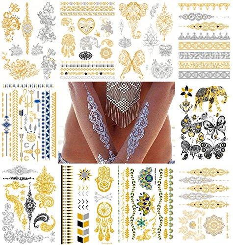 Le Fu Li Temporary, Metallic, Henna Body Tattoos, Gold & Silver Flash Tattoo Sheets, Over 100 Unique Designs (10 Sheets)