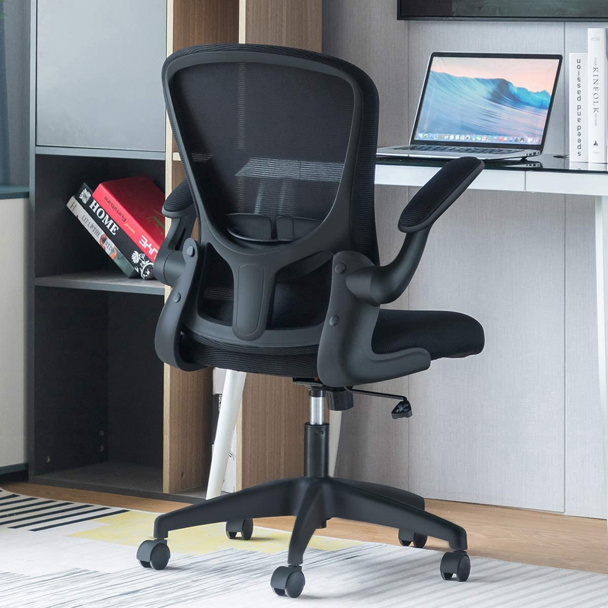 Sytas Office Chair Ergonomic Desk Chair Computer Task Mesh Chair with Flip-up Arms Lumbar Support and Adjustable Height,Black