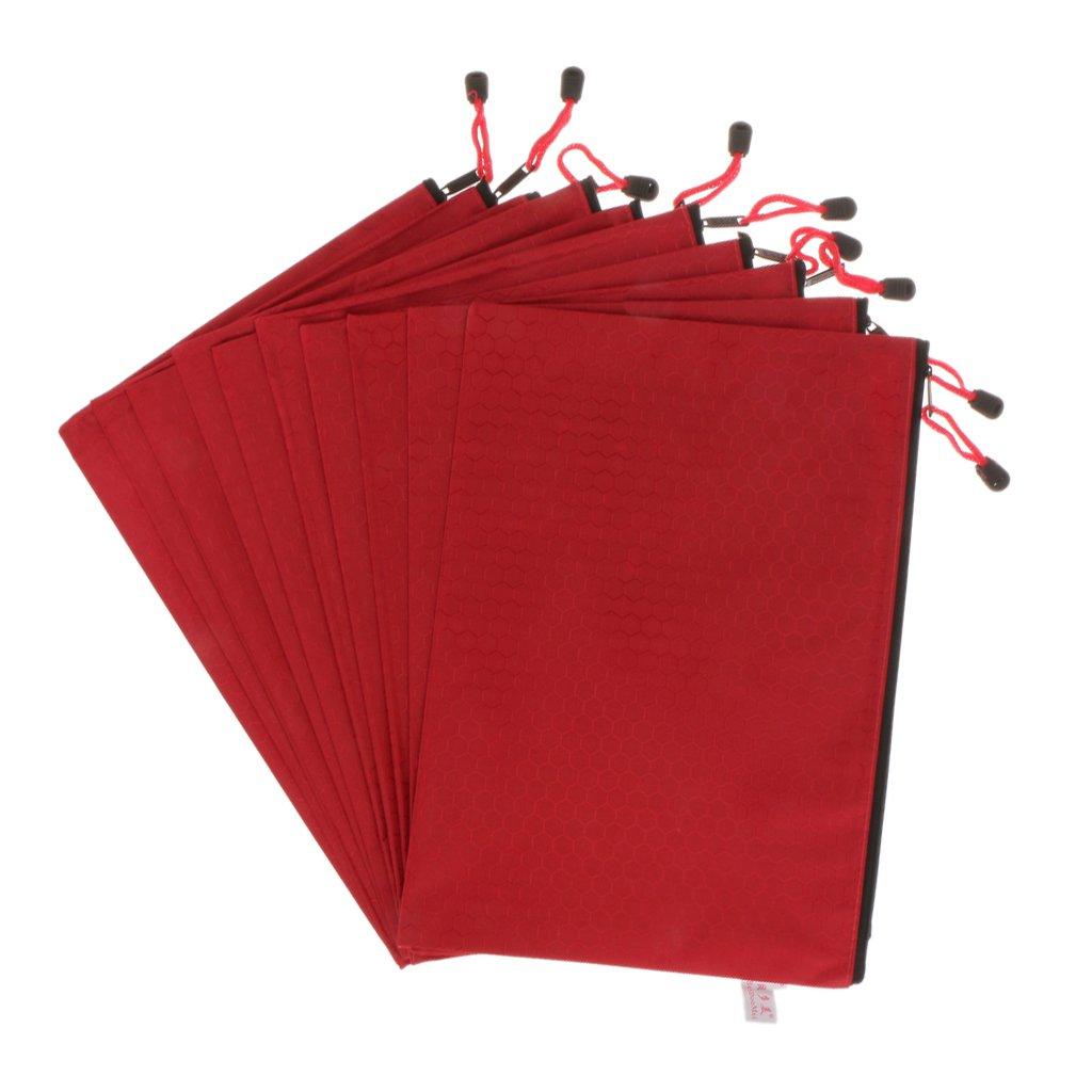 10pcs Material de oficina A4 Bolsa de Papel Documento con Cremallera Pl/ástico Carpeta de Archivos Rojo