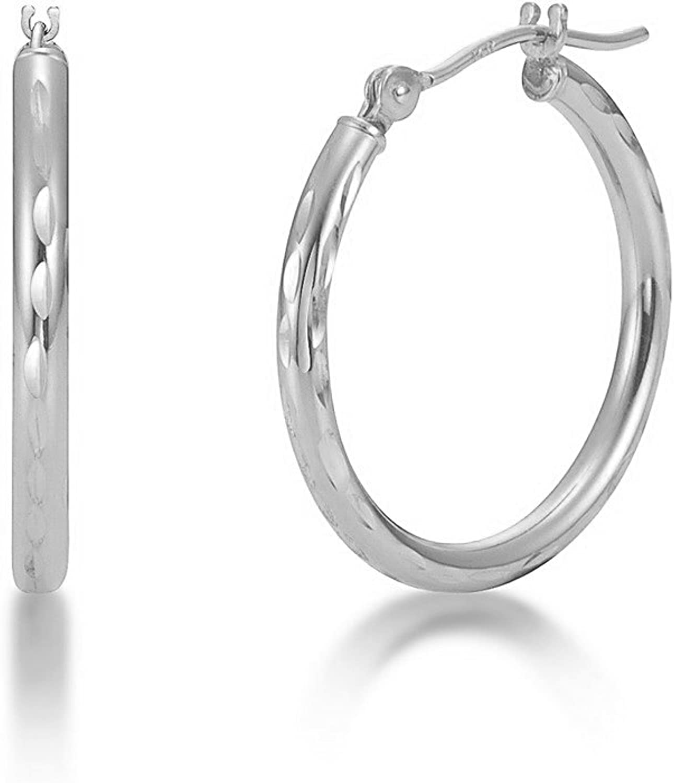 Earring Chest Sterling Silver Round Tube Earrings 2mm Wide 20mm Diameter