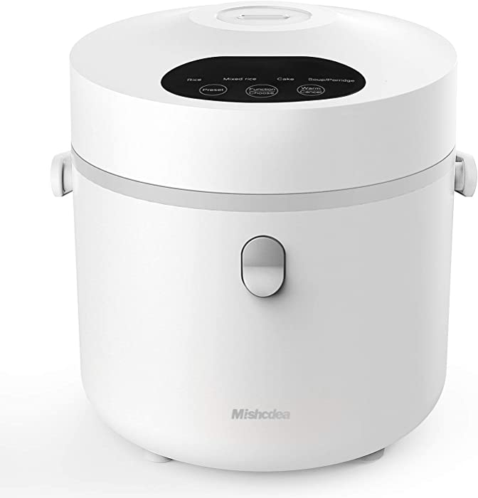 Mishcdea Small Rice Cooker, Personal Size Cooker for 1-2 People, Multi Food Steamer, 24 Hours Preset,Portable Rice Cooker 3 Cups (Uncooked), White