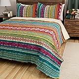 2pc Color Bohemian Stripe Quilt Twin Set, Horizontal Striped Bedding, Plum Purple Orange Yellow Teal Blue Pink White, Striped Southwest Native American Aztec Themed Pattern