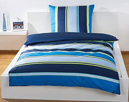78b8152035 Bassetti Blue Stripes Bedding Set, Duvet Cover Bed Linen 135 x 200 cm Fine  Sateen Zip, Qty: 1: Amazon.co.uk: Kitchen & Home