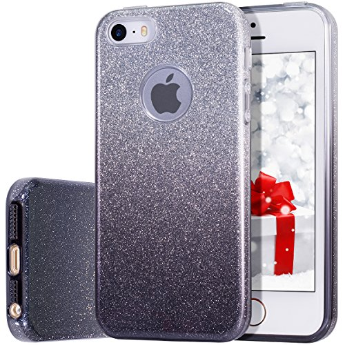 Hybrid, Anti-Slick Shiny Glitter Bling Crystal Clear Case for iPhone 5/5s/SE – Black ()
