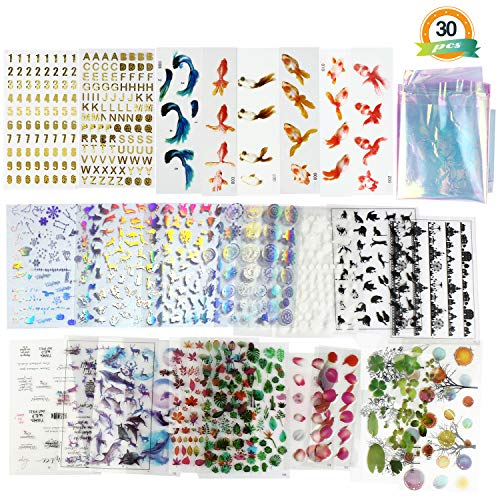 30 Sheets Resin Supplies Kit LET'S RESIN Transparent Decorate Stickers for Silicone Resin Molds,Resin Inclusion with Holographic Clear Film, Filling Materials for Resin Craft