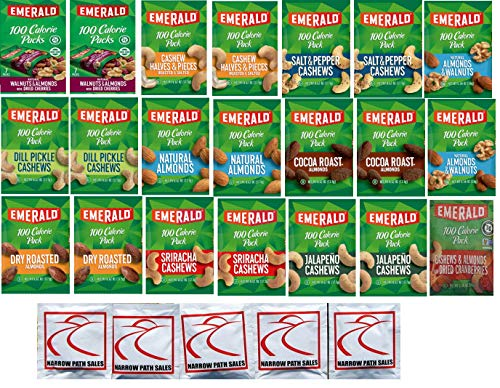 Emerald Nuts 100 Calorie Packs Variety Sampler Pack of 21 bags, 11 Flavors 100 Calorie Snack Pack