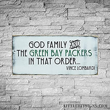 Wood Plaque Vince Lombardi Quote God Family And The Green Bay Packers Football Sign Hand Painted 10x20 Made To Order Packer Fan Sign 10 X 20
