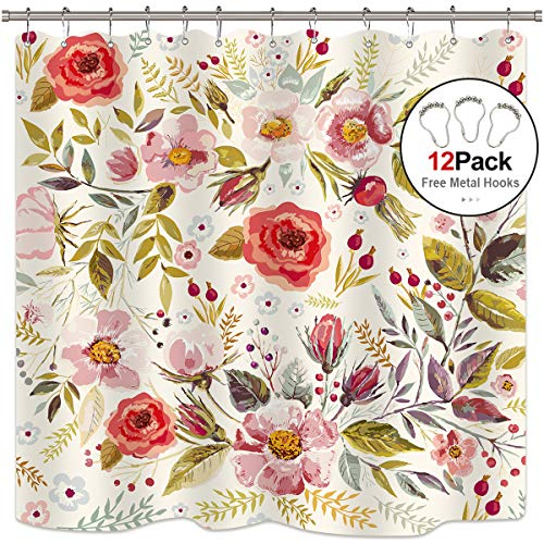 (Riyidecor Pink Floral Shower Curtain Free Metal Hooks 12-Pack Rose Flower Green Leaf Spring Shower Curtain Panel Polyester Waterproof Fabric 72x72 Inch)