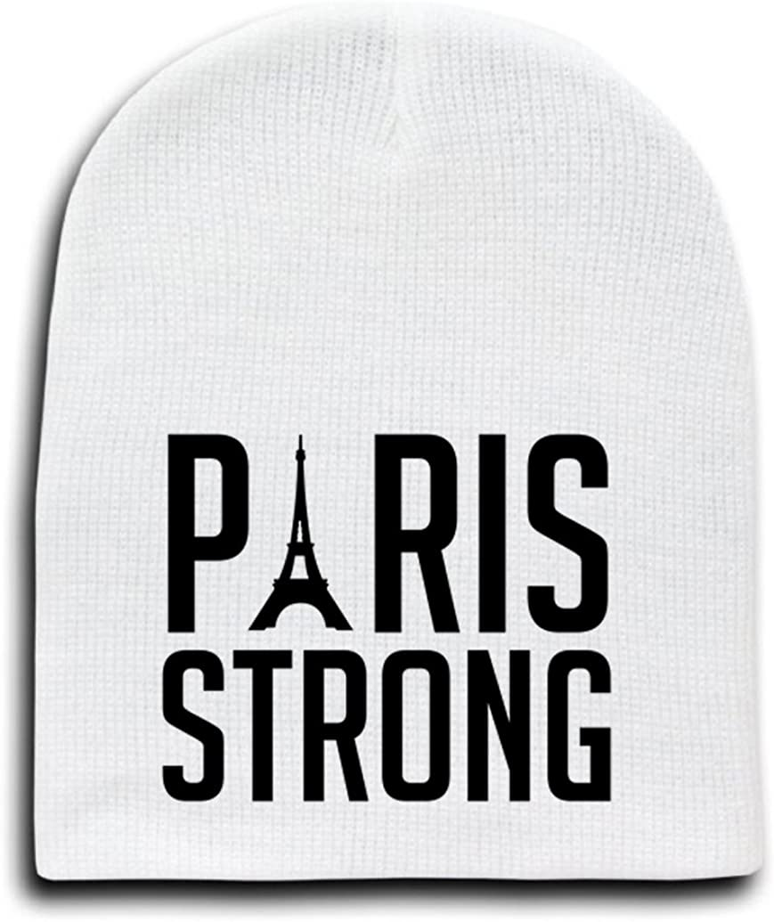 White Adult Beanie Skull Cap Hat - Paris Strong Black Text