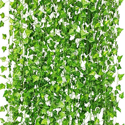 iBUY BEST Upgraded 12 Pack 84 Ft Fake Ivy Garland Fake Vines Leaves Artificial Ivy Greenery Fake Hanging Vine Plants Leaf for Room Decoration Wedding Party Home Garden Outdoor Office Wall