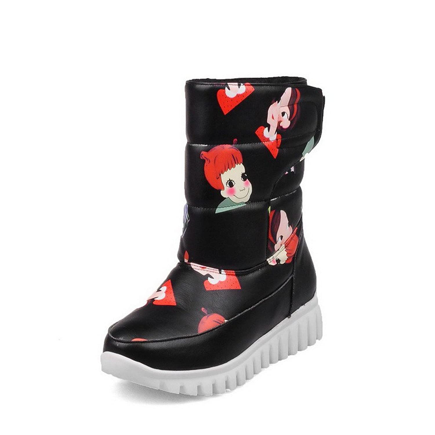 WeiPoot Women's Round Closed Toe Low-Heels Soft Material Low-top Cartoon Pattern Boots